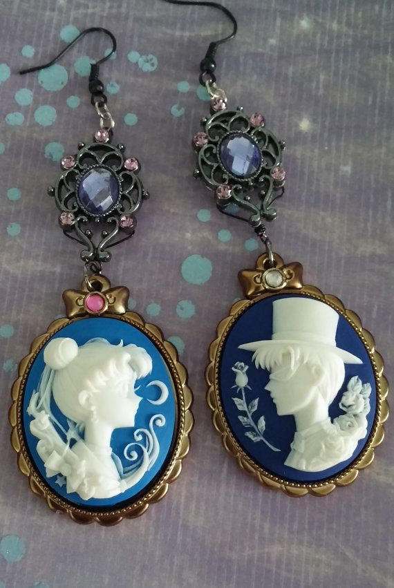 Sailor Moon and Tuxedo Mask dangle by AmberArtfulArtifacts on Etsy