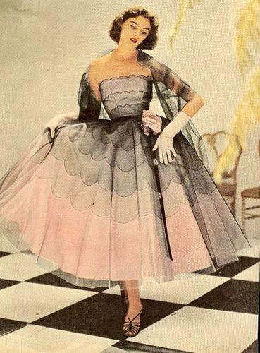 pink vintage 1950s elegant evening dress
