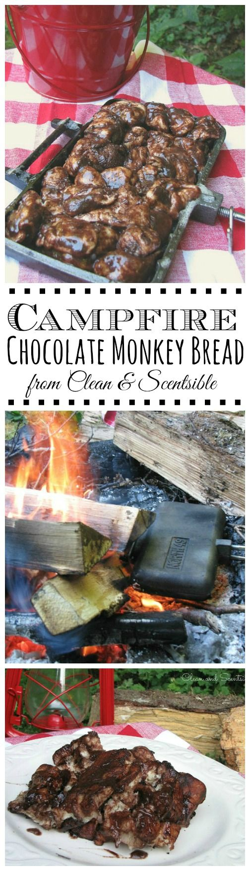 Chocolate monkey bread done over the campfire.  This is SO good!!