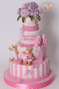 EDITOR'S CHOICE (10/17/2014) Baptism Cake with hydrangea and bears by Viorica Dinu View details here: http://cakesdecor.com/cakes/162366-baptism-cake-with-hydrangea-and-bears