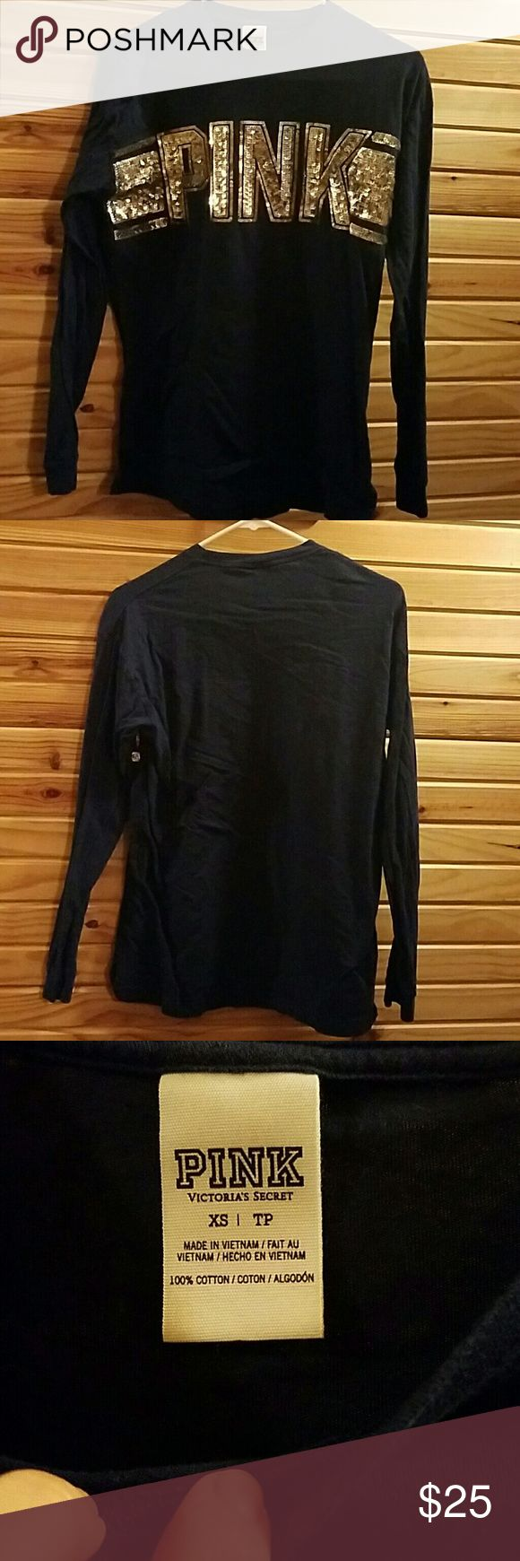 Pink Victoria Secret dark blue shirt size XS Dark blue and sparkly ladies! Worn once. Size xs Victoria's Secret Tops Tees - Long Sleeve