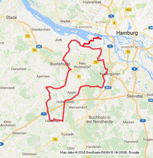Schöne, hügelige 100 km Tour quer durchs Alte Land. Mit Wald und nach 65 km Einkehr im Rosengarten(wenn man den geschafft hat)