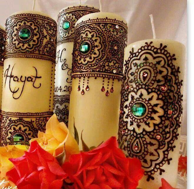 bougies dcores avec du henn - Bougie Henn Mariage