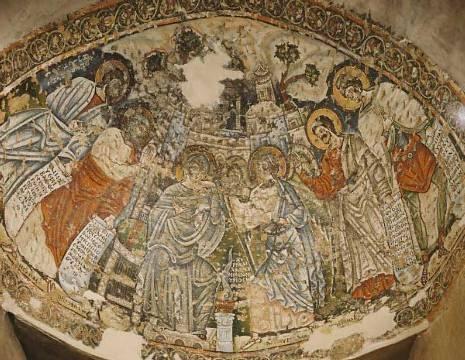 Fresco in het Koptische klooster Deir al-Surian, Wadi al-Natrun, Egypte, 10e eeuw.