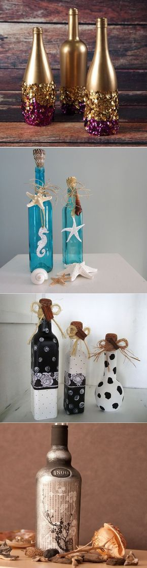 Garrafas de vidro decoradas. #artesanato #art #reciclagem #garrafa #decoração #love