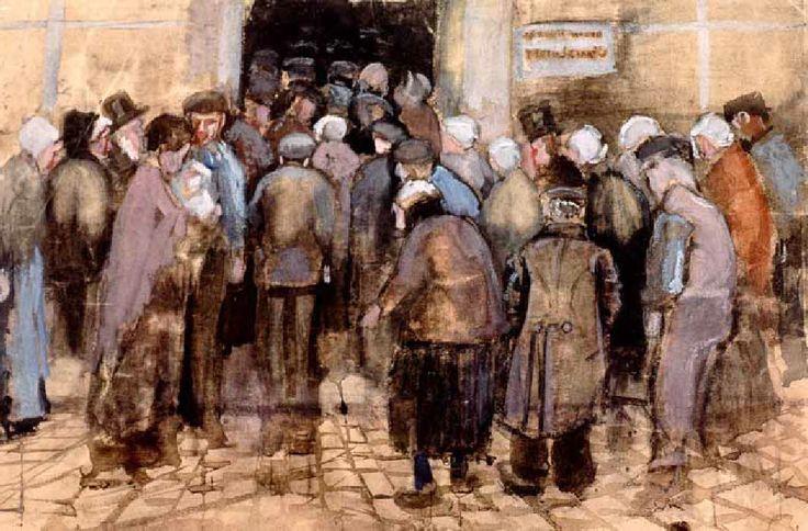 """Vincent Van Gogh - Post Impressionism - La Loterie - La Haye - """"Cette curiosité à propos de la loterie nous semble puérile mais cela devient sérieux si l'on considère le contraste entre la misère et cet effort désespéré des pauvres diables qui imaginent que leur salut passe par la privation de nourriture pour pouvoir acheter un billet de loterie""""."""