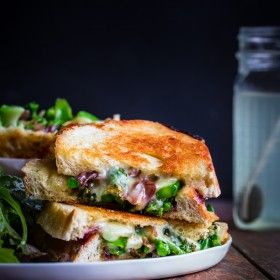 Grilled Cheese with Broccolini, Caramelized Red Onions, & Red Pepper Flakes