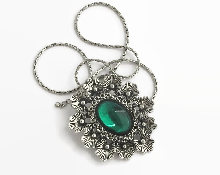 Large pendant / brooch on chain, oval cabochon of emerald green resin surrounded by flowers, silver metal closed link chain, circa 1960s by CardCurios on Etsy