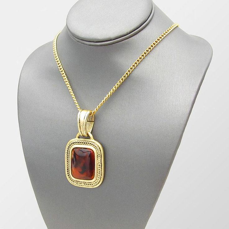 RUTH - Vintage Marble Brown Pendant Gold-Tone Chain Necklace