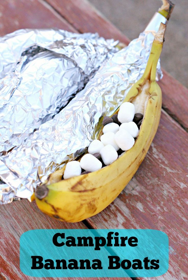 Campfire Banana Boats. Perfect for camping or grilling and easy to make!