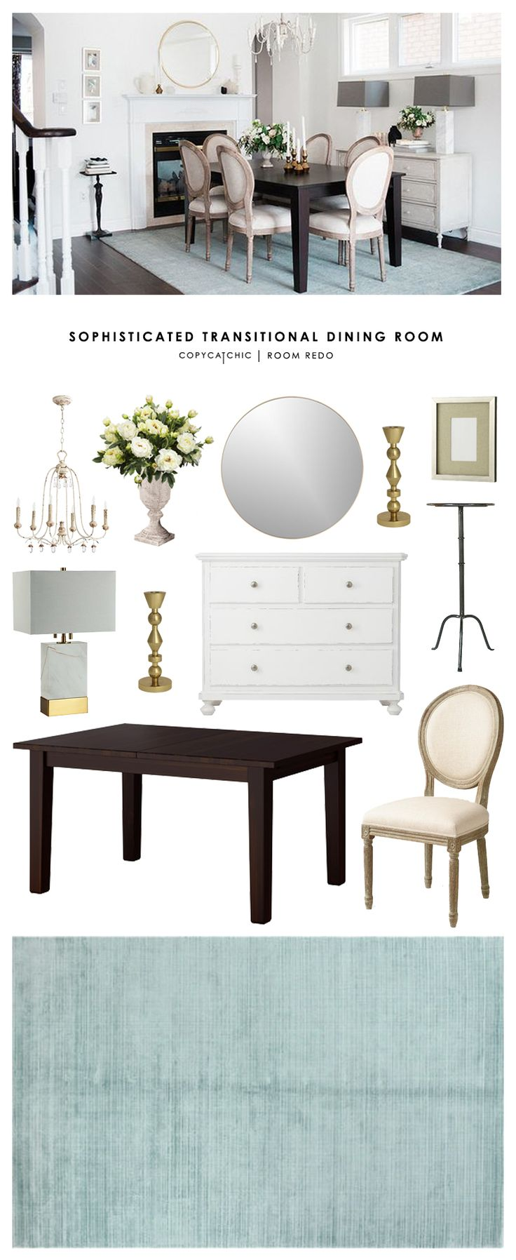 Copy Cat Chic Room Redo | Sophisticated Transitional Dining Room