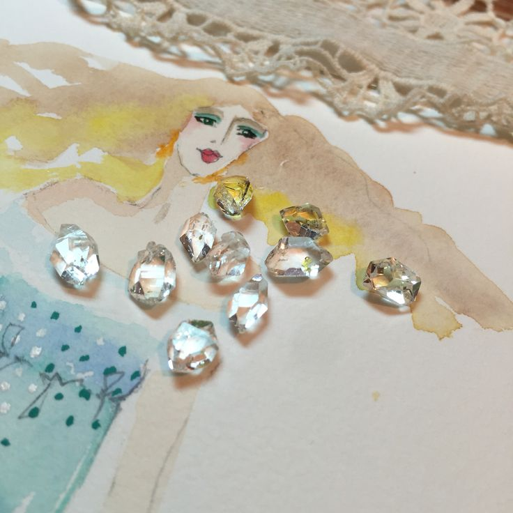 Herkimer diamonds with a water colour fashion drawing