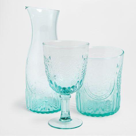 Servi o de copos vidro relevo verde gua copos e jarros - Zara home portugal ...