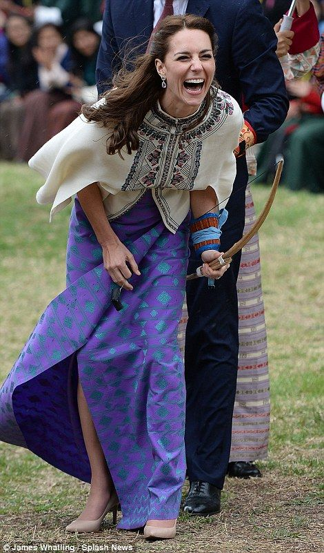 The Duke and Duchess of Cambridge visit the Bhutan National Stadium to take part in archer...