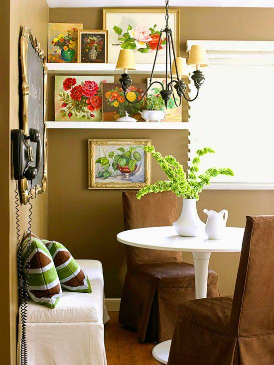 Make A Vintage Gallery: Wall Colors, Dining Rooms, Chalkboards, Oil Paintings, Breakfast Nooks, Shelves, Vintage Floral, Fleas Marketing, Vintage Artworks