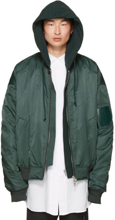 Juun.J Green Hooded Bomber Jacket