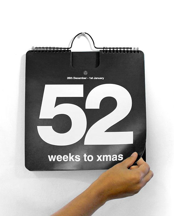 Too cute – the 52 Weeks to Xmas Calendar really captures the anticipation and excitement of childhood holiday season. This reusable flip calendar has one page for every week of the year, the week number super bold against a stark black background, read more at homecraftsdiy.com