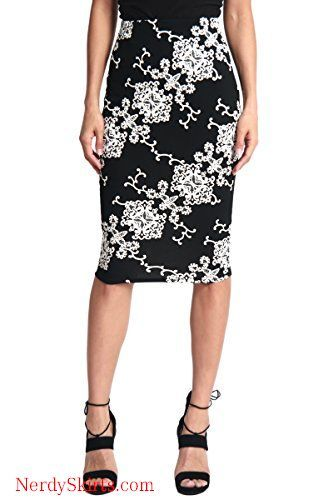 d5af41e68 TheMogan Women's Floral Print Stretch Pencil Midi Knee Skirt for Office  Occasion