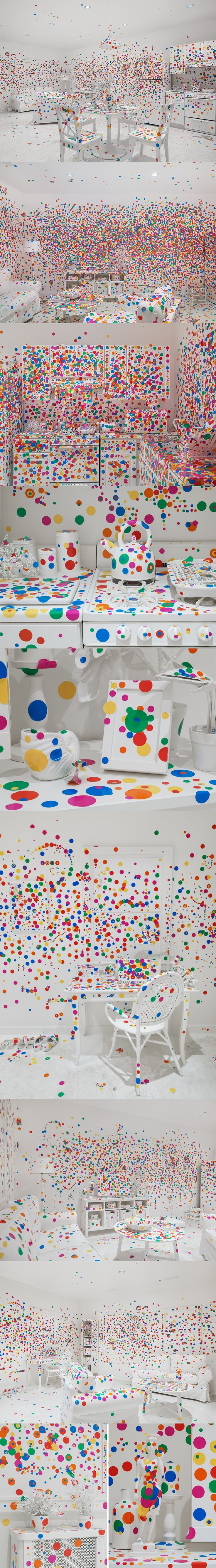 yayoi kusama - colorful dot-covered obliteration room to new york. Great inspiration for bedroom installation for anxiety and mental health with enlarged posters and illustrated diary of anxious persion on display on a desk or side table