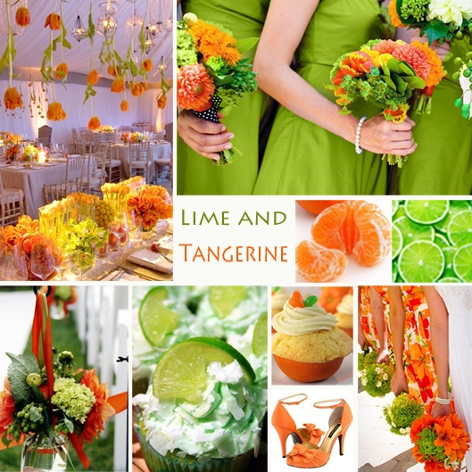 Lime and Tangerine Wedding Colors - Lime and tangerine is a vibrant, sunny combination for a spring or summer wedding.    #exclusivelyweddings