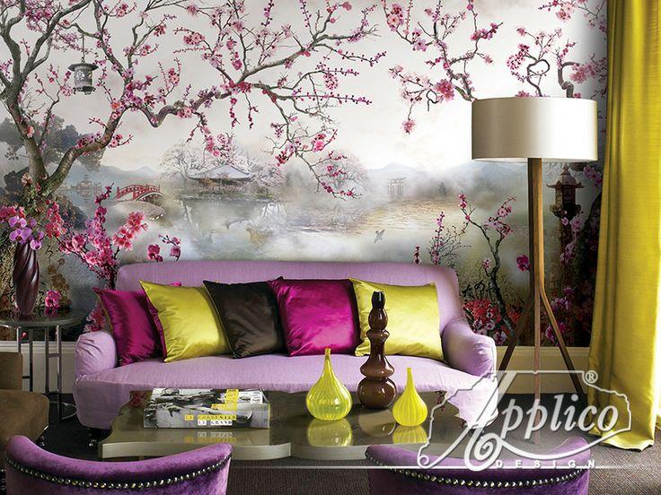 Настенные фрески и элитные фотообои Applico в интерьере гостиной.