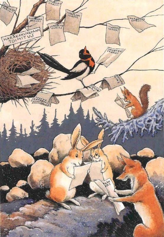 animals reading by Rudolf Koivu (Finnish, 1890-1946)