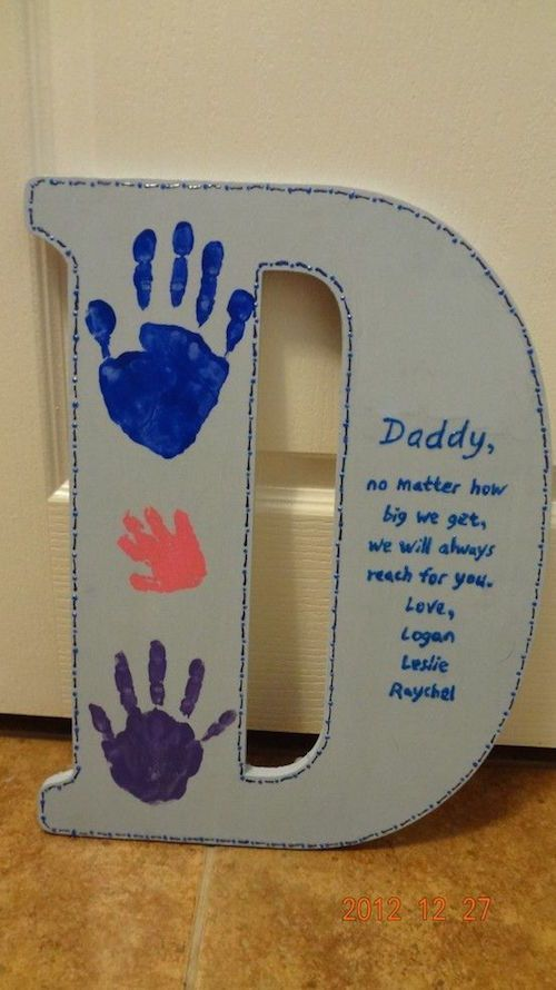 """DIY Father's Day idea - get a wooden letter """"D"""" from the craft store, paint it, write this poem, and have the kids and family put their handprint on it. So easy and such a neat idea."""