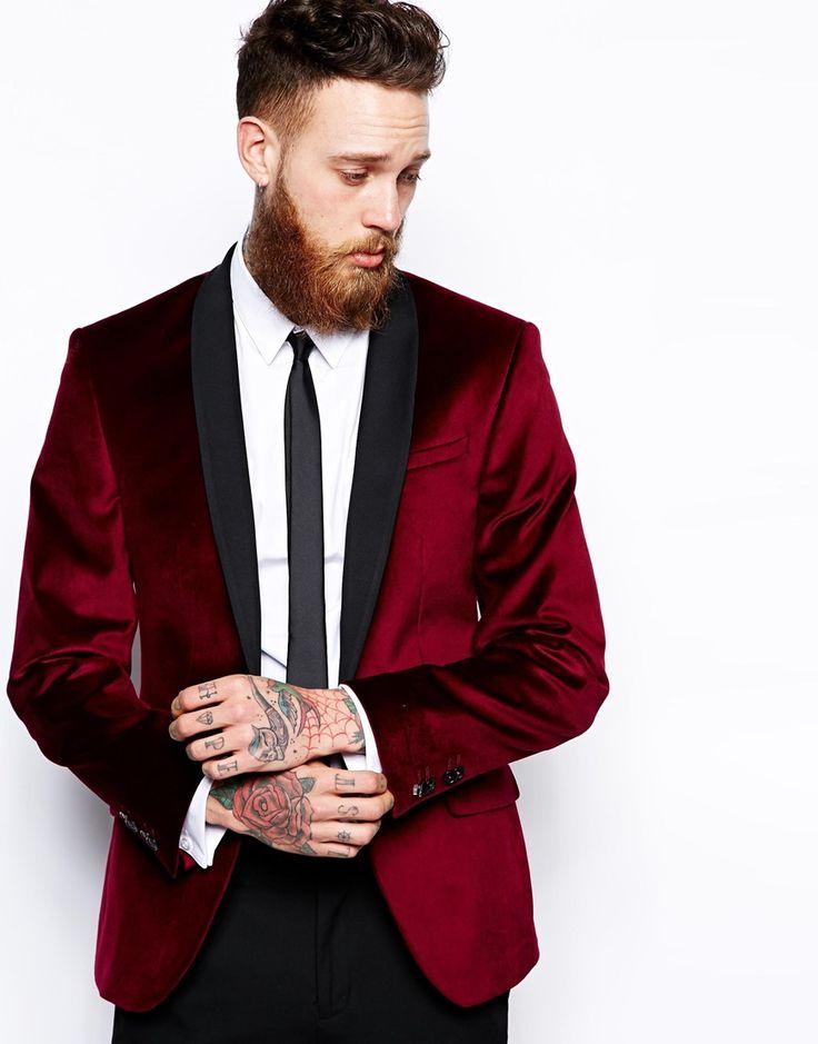 Red eleven slim fit tuxedo jacket black