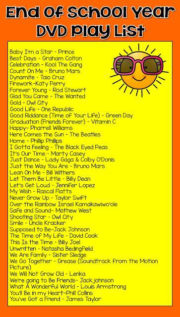 school dvd play list, kindergarten memory dvd
