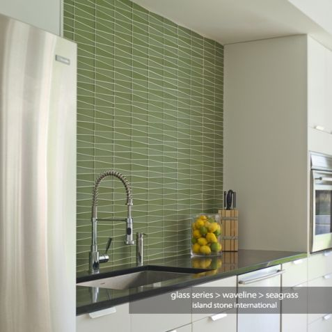 GLASS TILE Beach Glass / Waveline By Island Stone #TileShowcase #Watertown  #Boston #