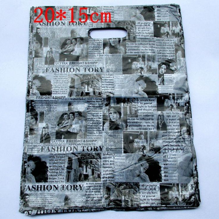 100pcs/lot English Newspaper Design Plastic Gift Bag 20*15cm Clothes Jewelry Packaging Bag Big Plastic Shopping Bags 152021 #Affiliate
