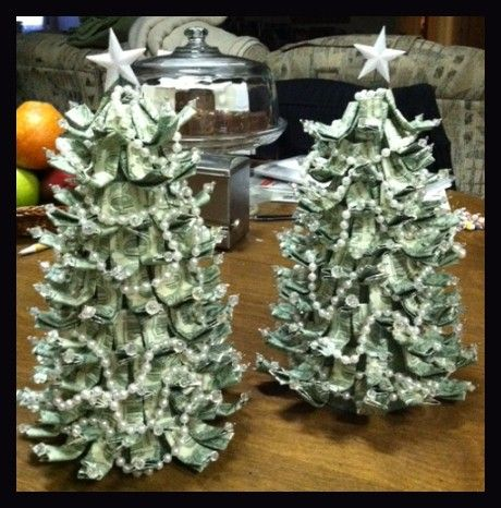 """A neat way to give the """"money"""" gift and still make it seasonal. A 9"""" green styrofoam cone, wire, beads and pearls for garland. Fold the money in half, then fold the halves toward each other. Use a little clear tape if needed. Run a piece of wire (with a crystal added) through the folded bill, turn down about 1"""". Curl to the desired shape and start sticking them in the cone. Finish with a star on top and you're done!"""
