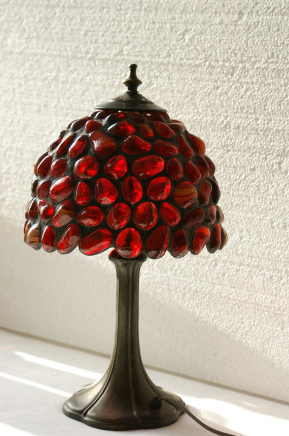 Red Stained Glass Lamp Tiffany Lamp Made to by ArtGlassAnazie, $263.00