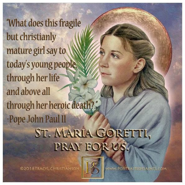 St. Maria Goretti patron of crime victims & modern youth.