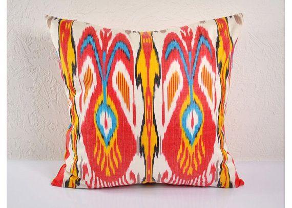 Ikat Pillow Hand Woven Ikat Pillow Cover by BlackFigDesigns