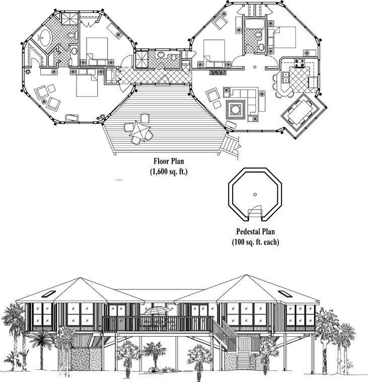 14 best octagon house home plans vintage blueprint design for Beach house plans 1800 sq ft