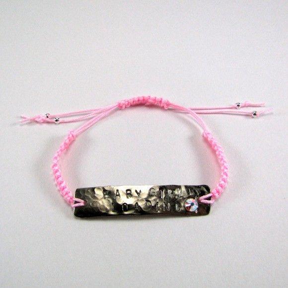 "Adjustable macrame bracelet with baby pink cord, silver beads and handmade jewelery ""Baby Girl Loading"" ID made of wrought arzanto and zwarovski iridescent stone."