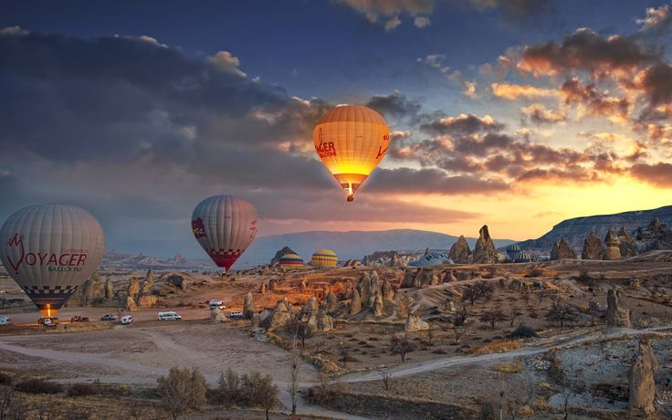 Magical view from Kapadokya with hot air-balloons and Fairy Chimneys.