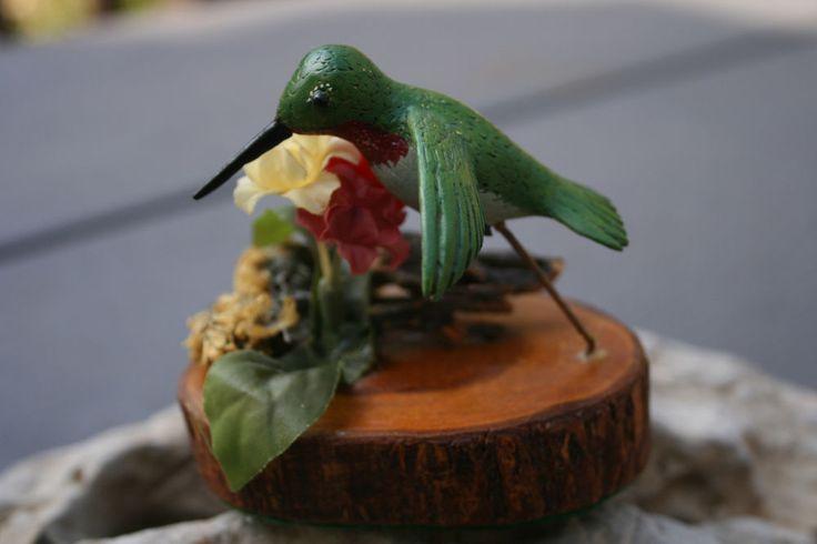 Vntg Hummingbird Figure Hovering Flowers Wood Hand Carved, Darling!