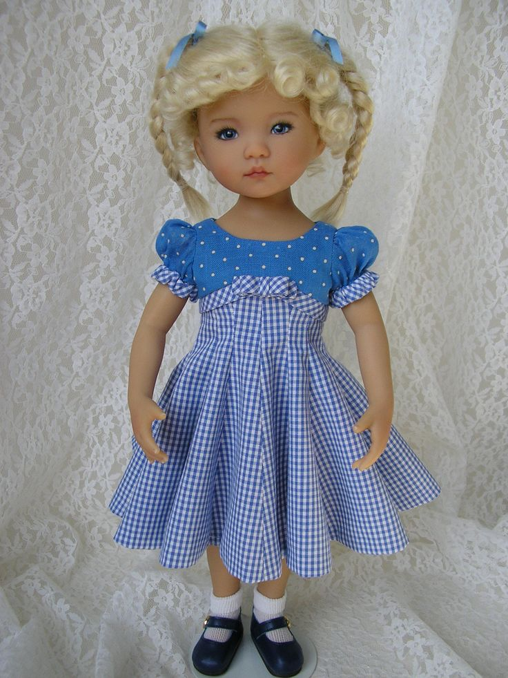 """https://flic.kr/p/zjFqZo   Here is a dress I made thanks to a Simplicity pattern #1086 from the master doll pattern designer Eve Coleman. This is a patter for 18"""" dolls, but after doing an online search, I found that Ali (Alisewn) had reduced the pattern to 65%. Thanks, ladies!   OLYMPUS DIGITAL CAMERA"""