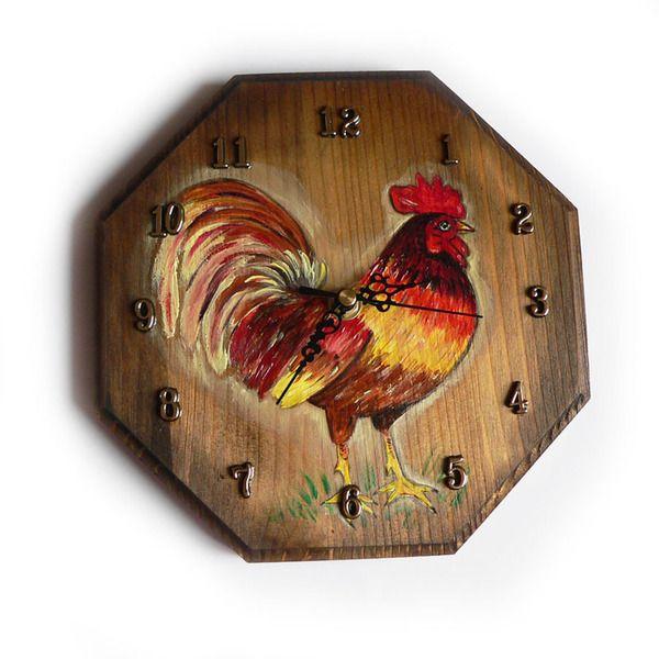 Kogut - zegar w stylu rustykalnym w SolmilarArt na DaWanda.com