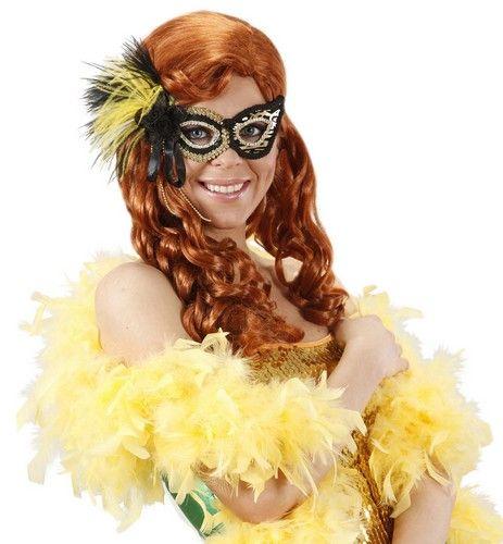 Máscara negra y dorada: Esta máscara para adulto es de color negro y dorado con un estampado de tigre. Tiene plumas negras y amarillas y una gomna elástica para la sujeción. Es el accesorio ideal para...