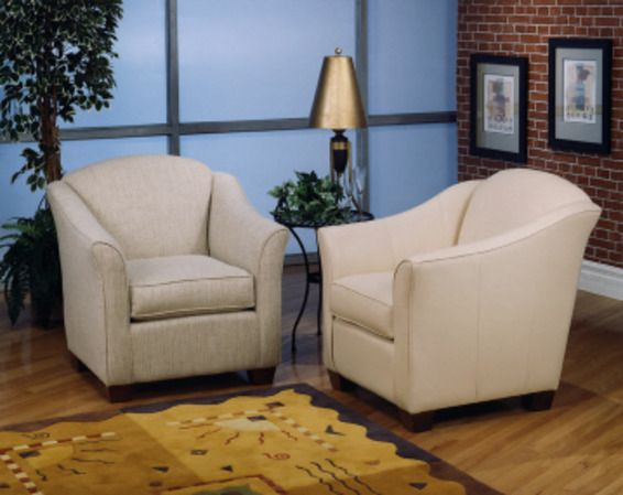 Dalton - Club chair perfect for reading or conversation.  Sleek, modern and comfortable.  Dozens of fabrics and leathers and three leg stains to sele...