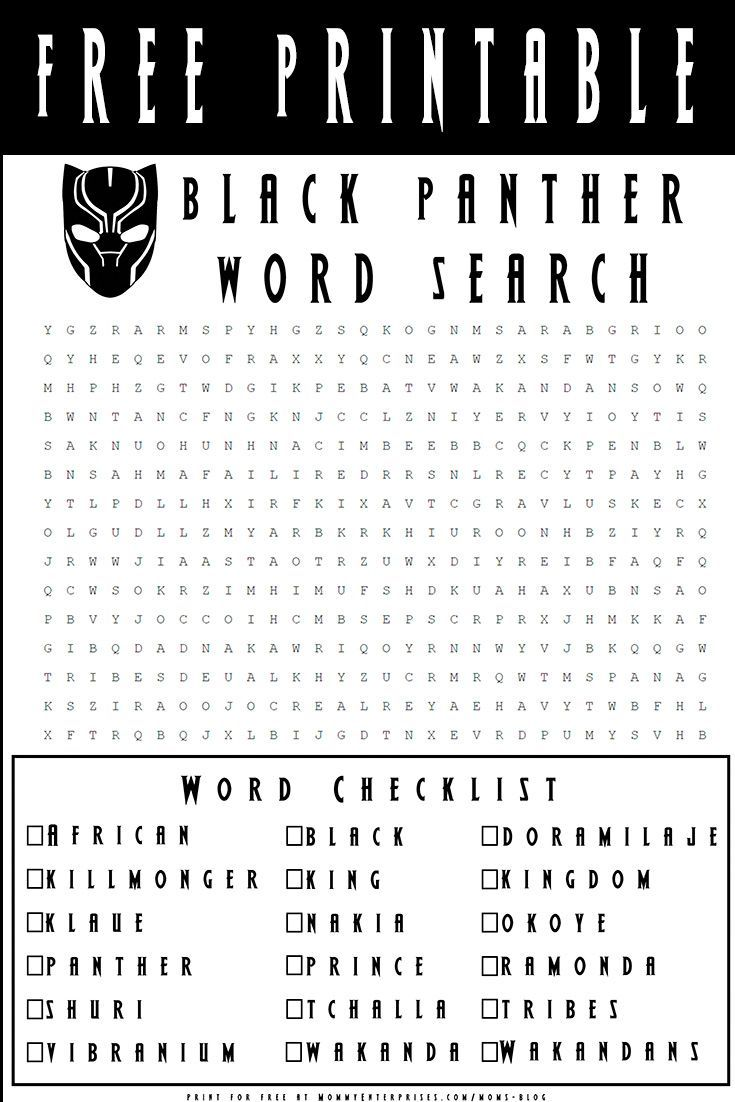 Downloadable Black Panther Activities For Kids