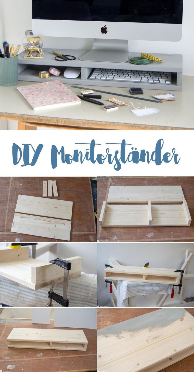DIY monitor stand with compartments for more order
