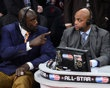 TNT broadcaster Shaquille O'Neal (left) and Charles Barkley talk during the 2013 NBA All-Star slam dunk contest at the Toyota Center.