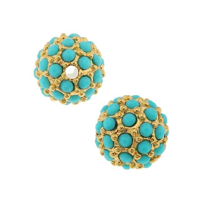 Beadelle Crystal Resort Collection 8mm Round Pave Bead Gold Plated /