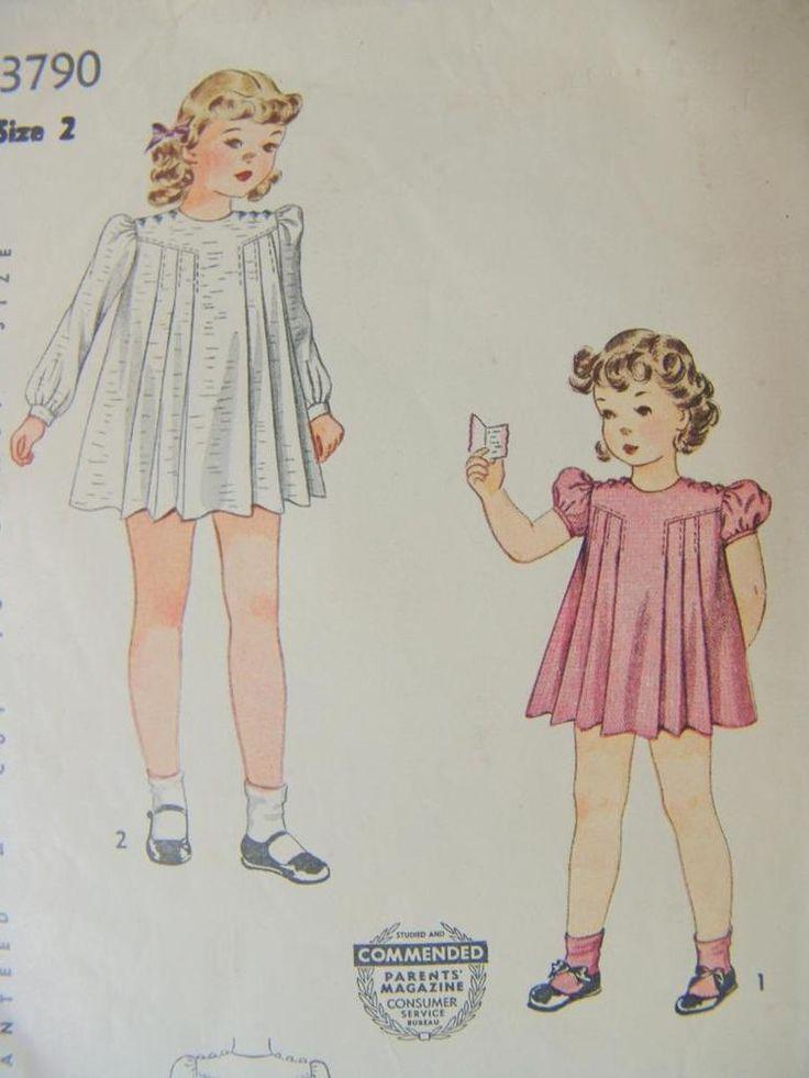 Vintage Simplicity 3790 Darling Pleated Bodice Dress Pattern SZ 2