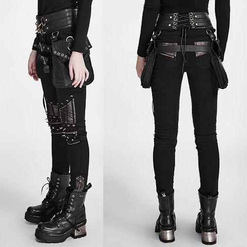 Women Black Spike Slim Fit Hard Punk Rock Fashion Pants Trousers SKU-11404146