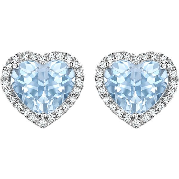 Kiki McDonough Grace Collection Blue Topaz and Diamond Heart Stud... ($1,030) ❤ liked on Polyvore featuring jewelry, earrings, heart shaped earrings, white gold jewellery, diamond earrings, diamond stud earrings and stud earrings